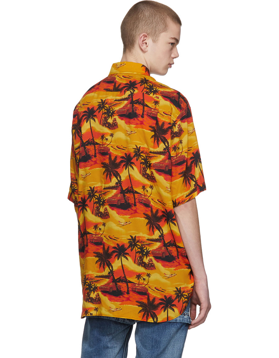 BALENCIAGA Orange Norm Fit Hawaiian Shirt