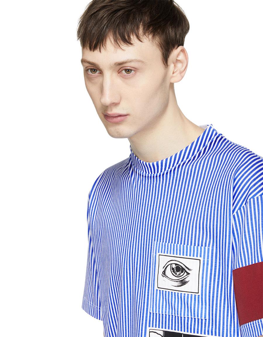 PRADA Blue & White Stripe JWP Riga Patch T Shirt