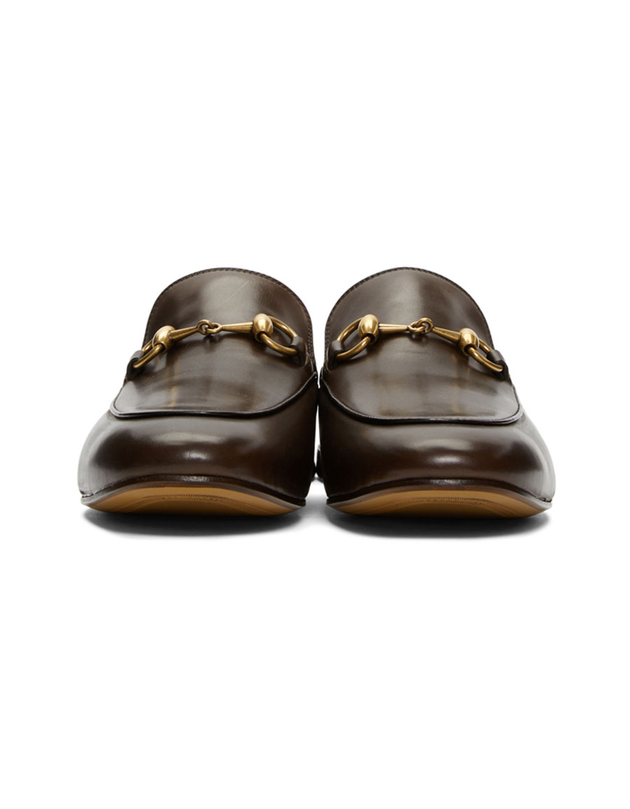 GUCCI Brown Kings Slip On Loafers