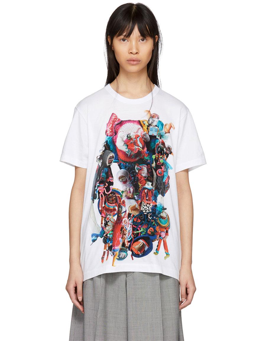 COMME DES GARÇONS White Print T Shirt