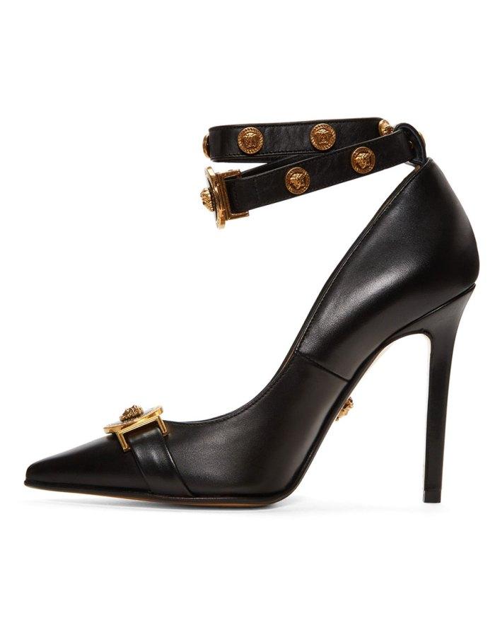 VERSACE Black Tribute Logo Heels