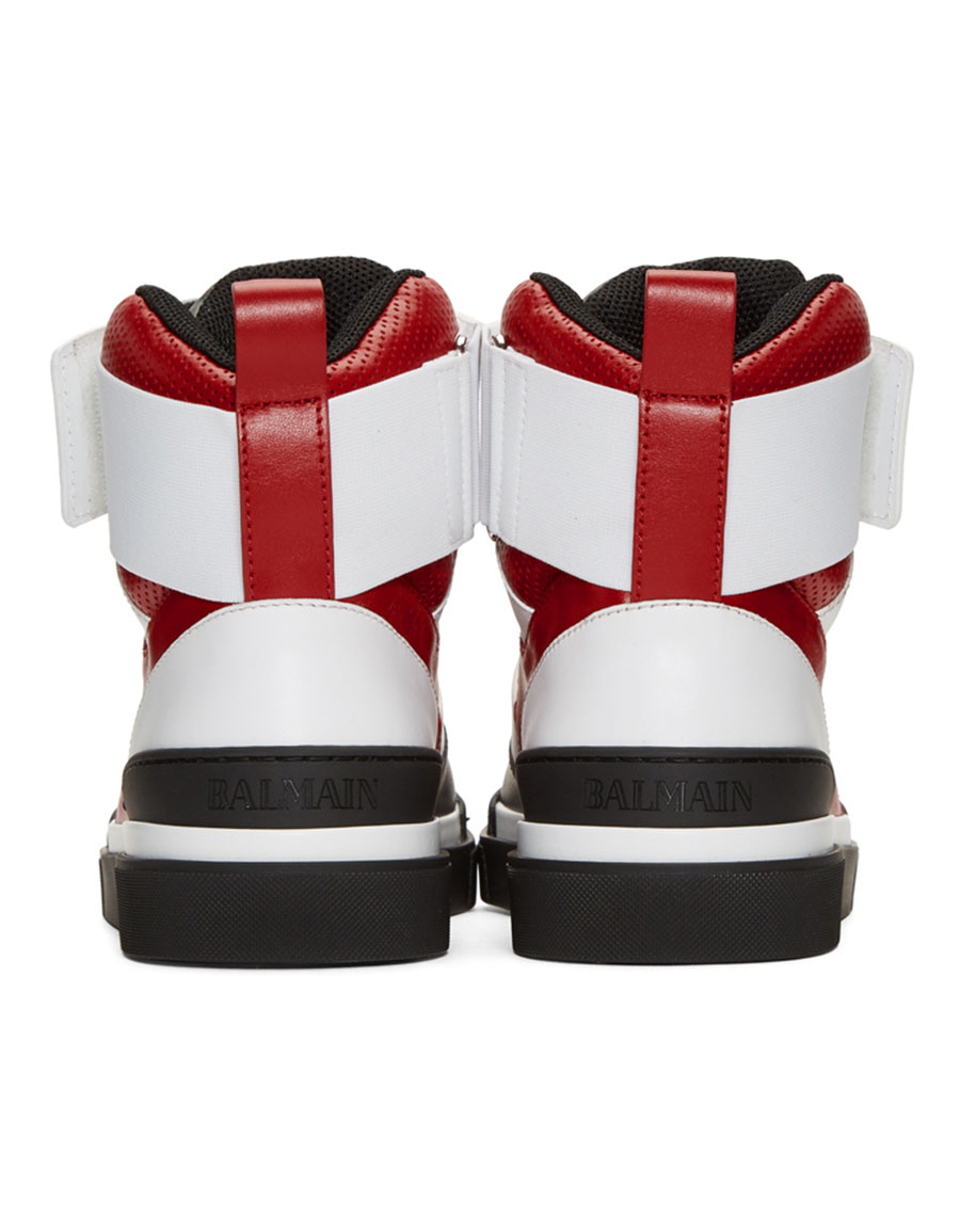 BALMAIN Red & Black Cleveland High Top Sneakers