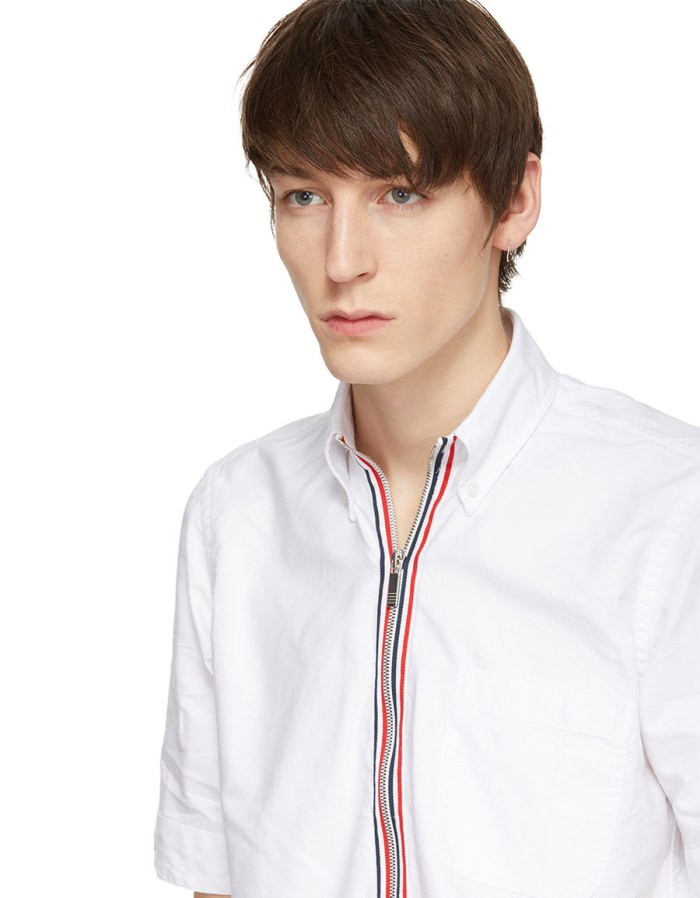 THOM BROWNE White Zip Up Pullover Shirt