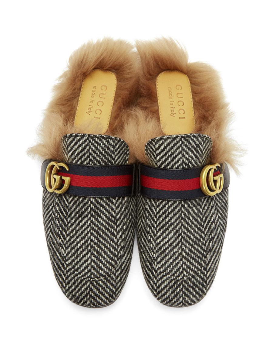 GUCCI Black & White Herringbone Wool Lined Princetown Slip On Loafers