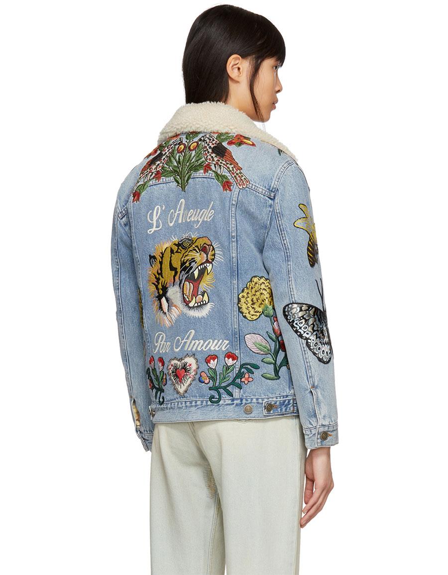 GUCCI Blue Shearling 'L'Aveugle Par Amour' Denim Jacket