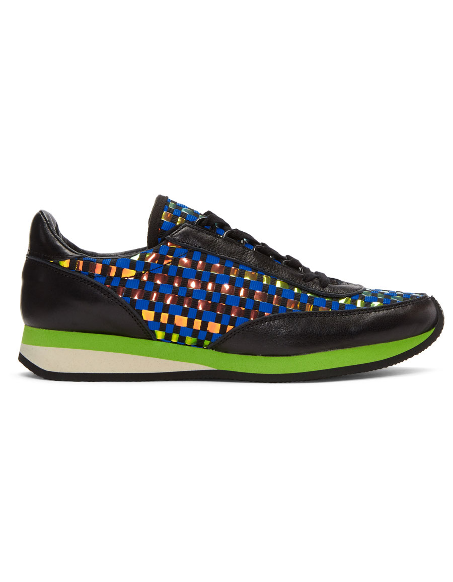 COMME DES GARÇONS Blue Woven Hologram Sneakers