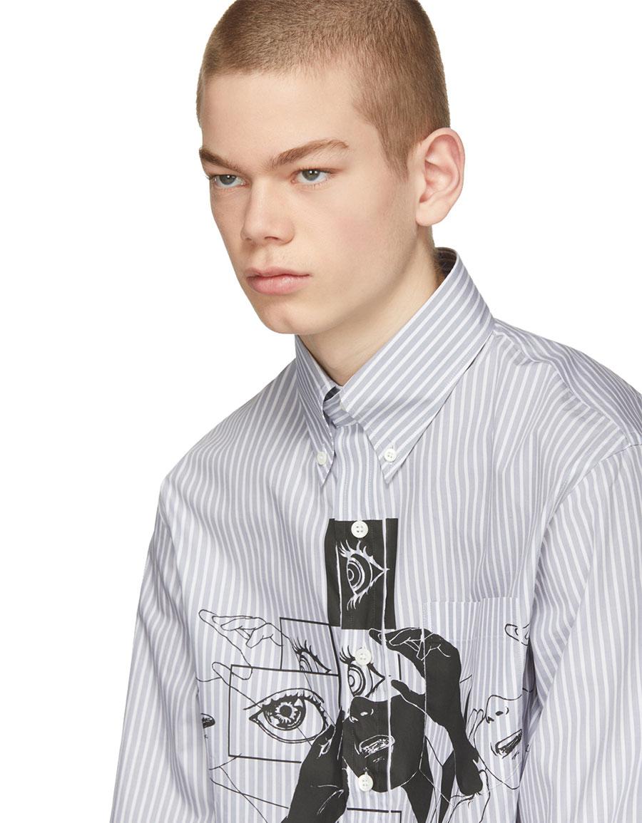 PRADA Grey & White Eyes Shirt