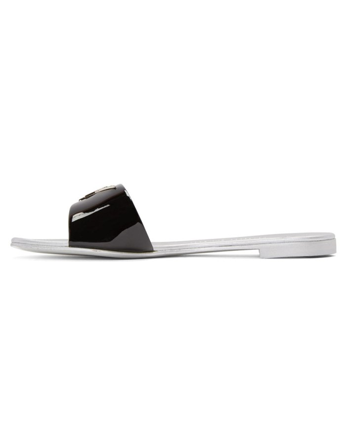 GIUSEPPE ZANOTTI Black Patent Logo Sandals