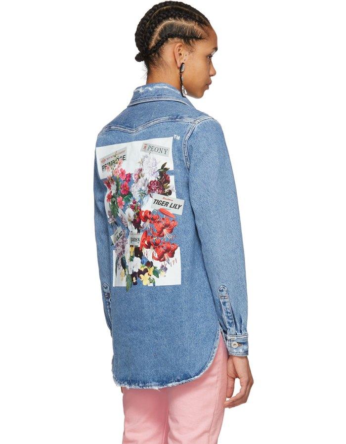 OFF WHITE Blue Denim Flower Shop Shirt