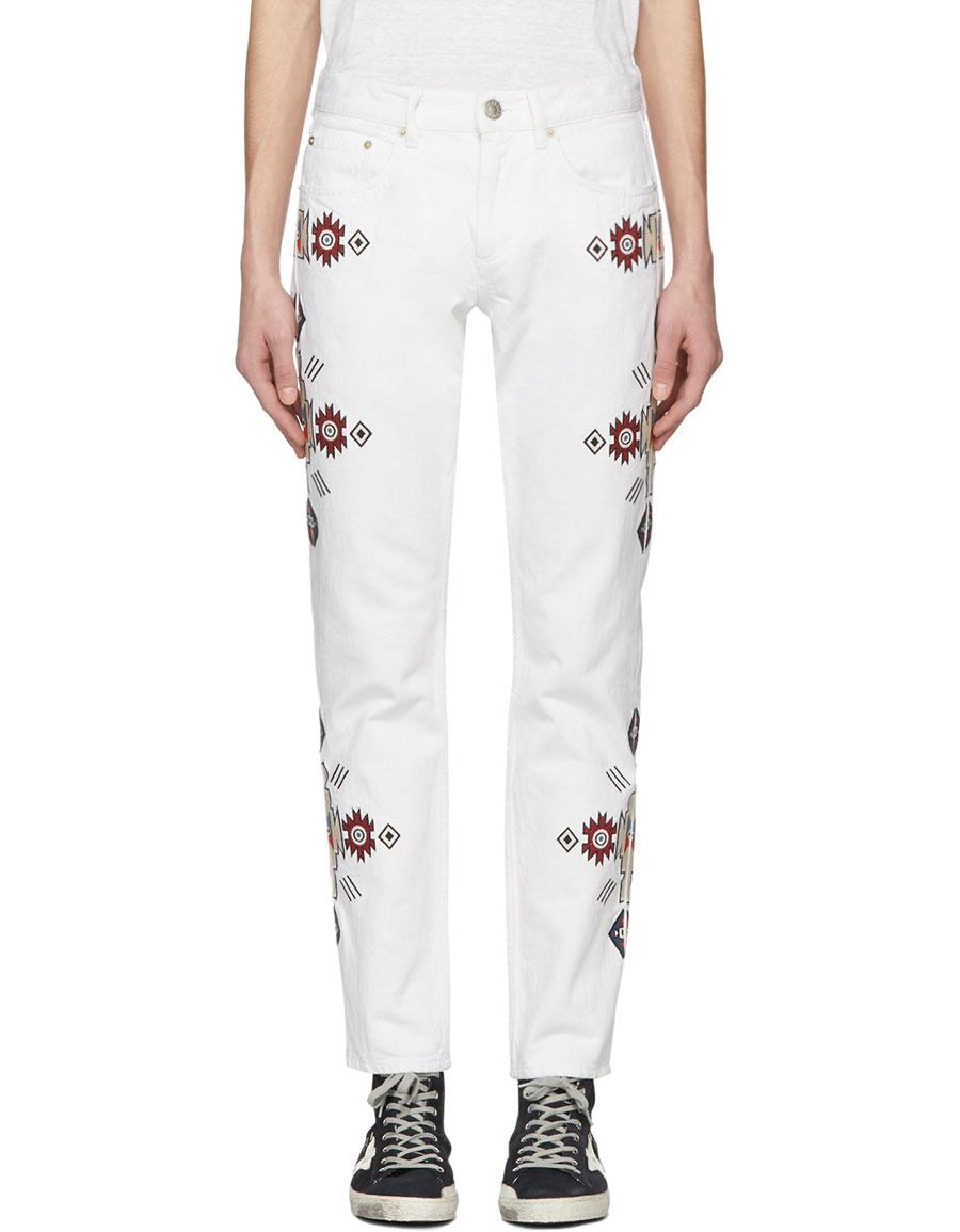 ISABEL MARANT White Embroidered Jasper Jeans