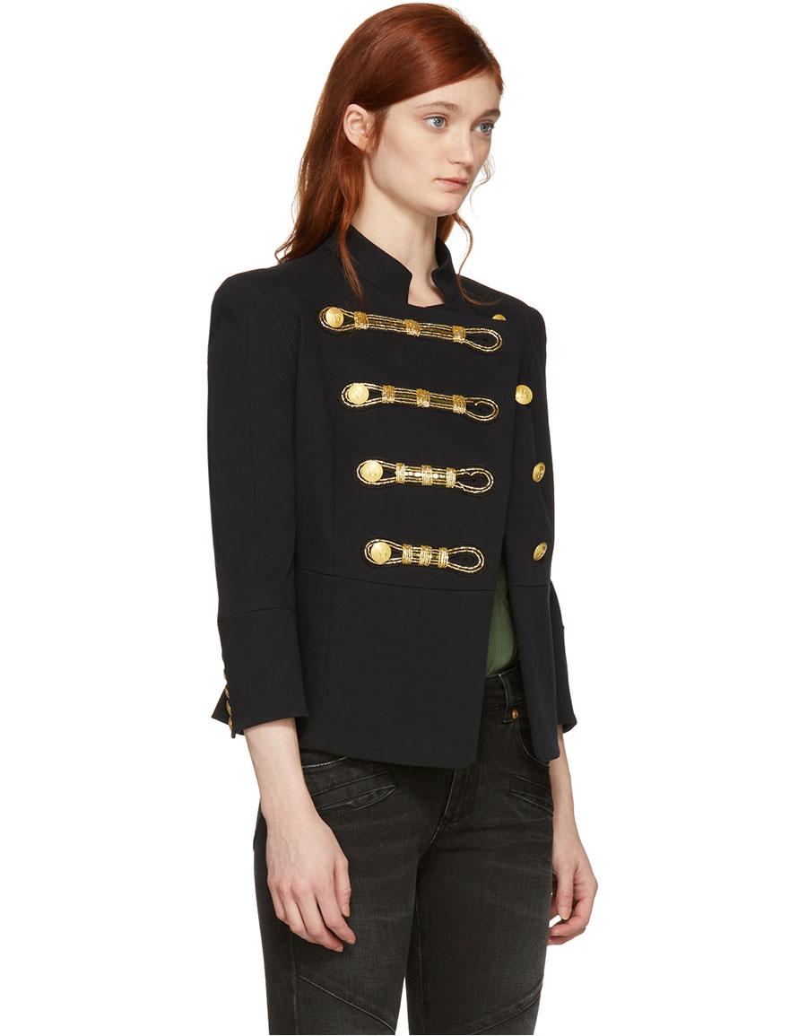 BALMAIN Black Detailed Double Breasted Blazer