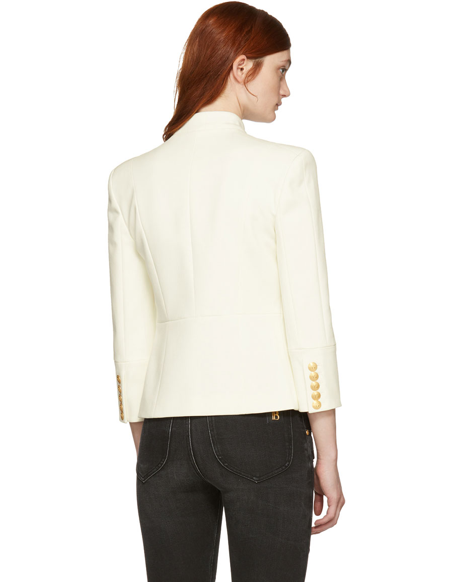 BALMAIN White Detailed Double Breasted Blazer