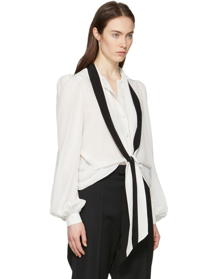 GIVENCHY Off White & Black Tie Shirt