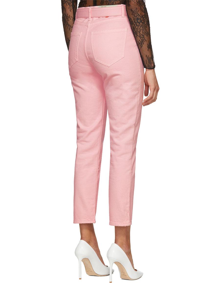 OFF WHITE Pink Tight Crop Belt Jeans