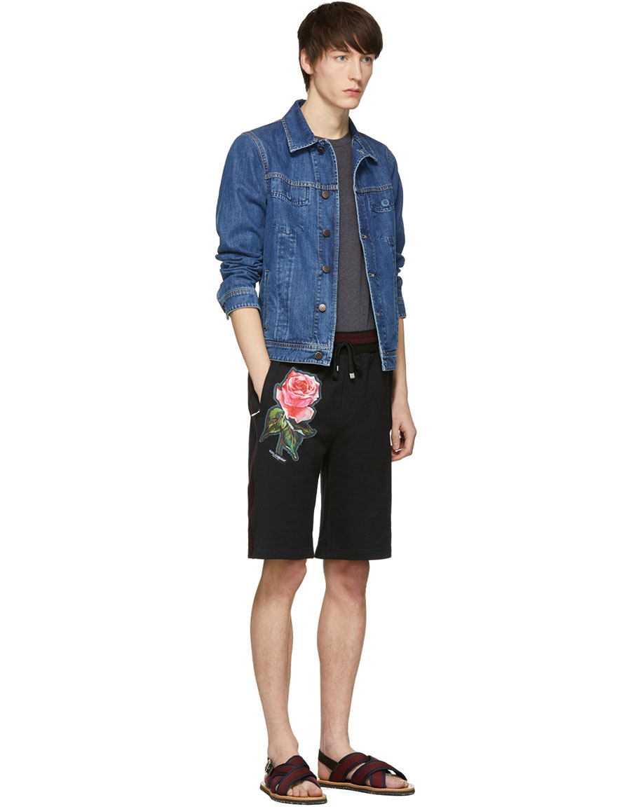 DOLCE & GABBANA Black Floral Appliqué Shorts