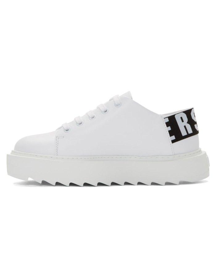 VERSUS White Elastic Logo Sneakers