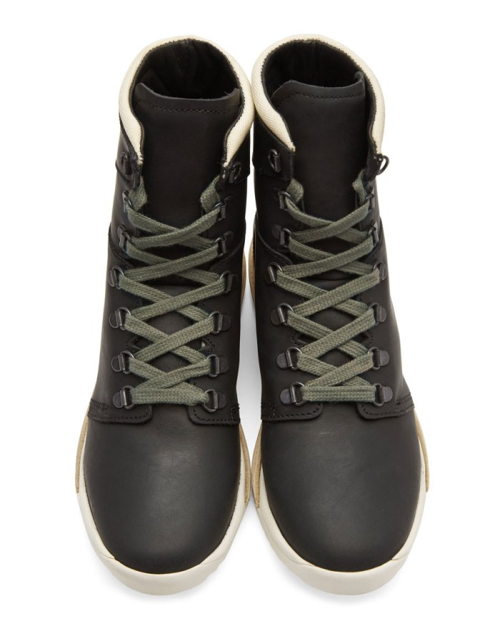 RICK OWENS Black Hood Robber Edition Dirt Grafton Lace Up Boots