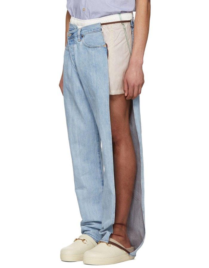 BLESS Blue Mesh Trimmed Jeans