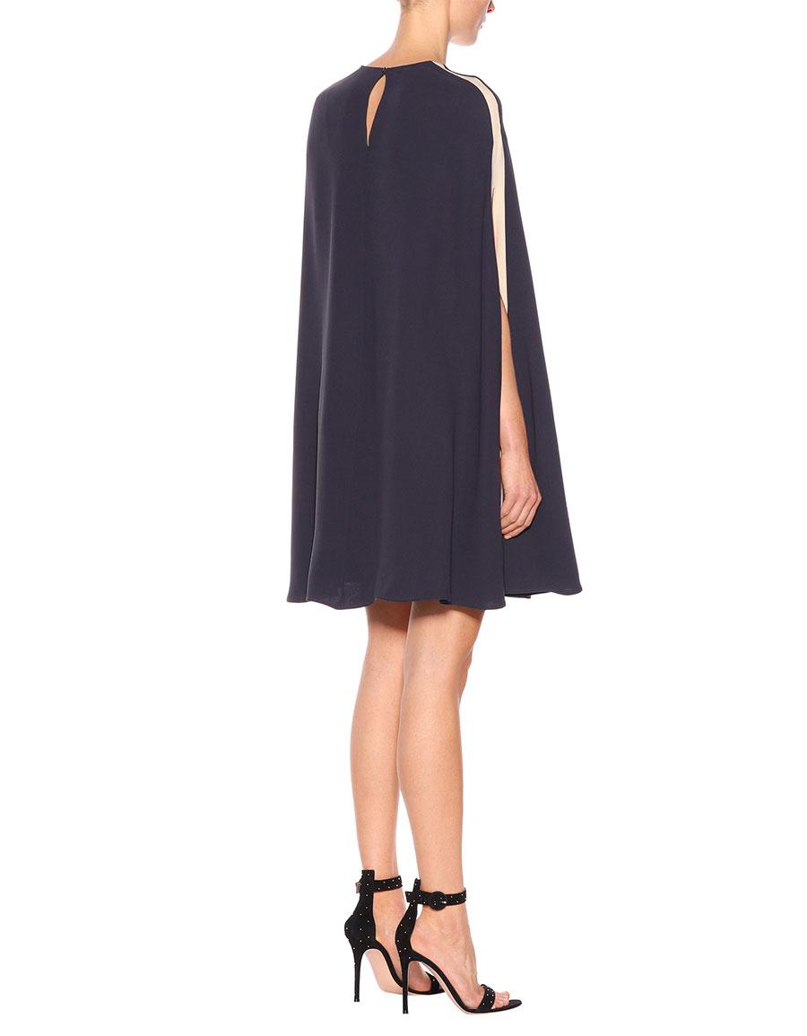 VALENTINO Silk crêpe de chine cape dress