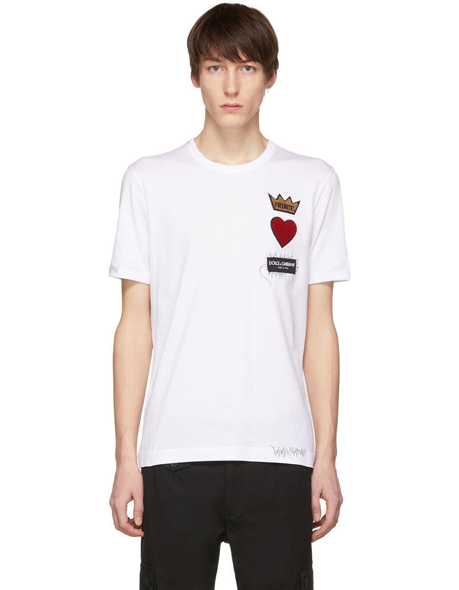 DOLCE & GABBANA White 'Prince' Patch T Shirt