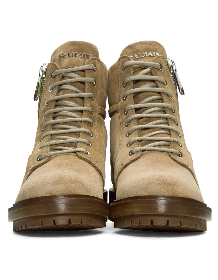 BALMAIN Tan Ranger Boots