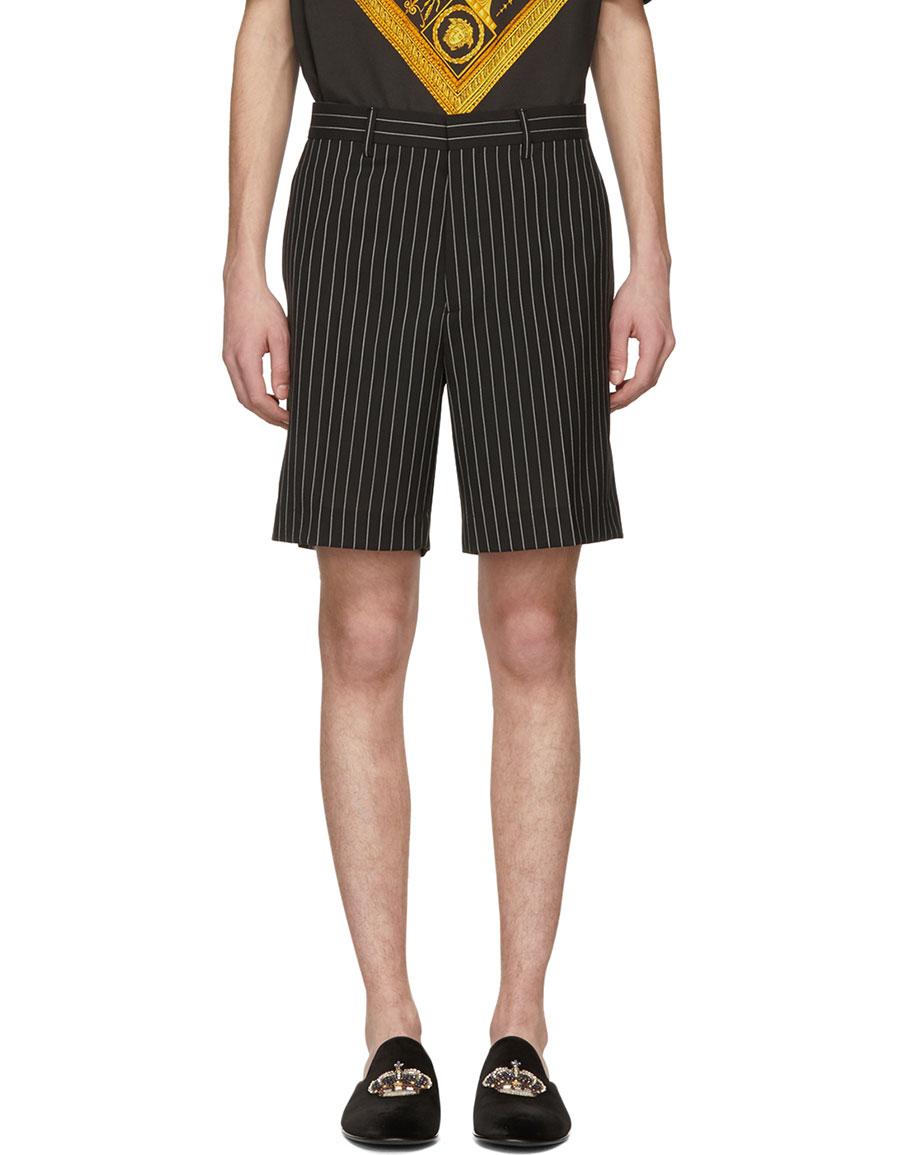 VERSACE Black & White Pinstripe Shorts