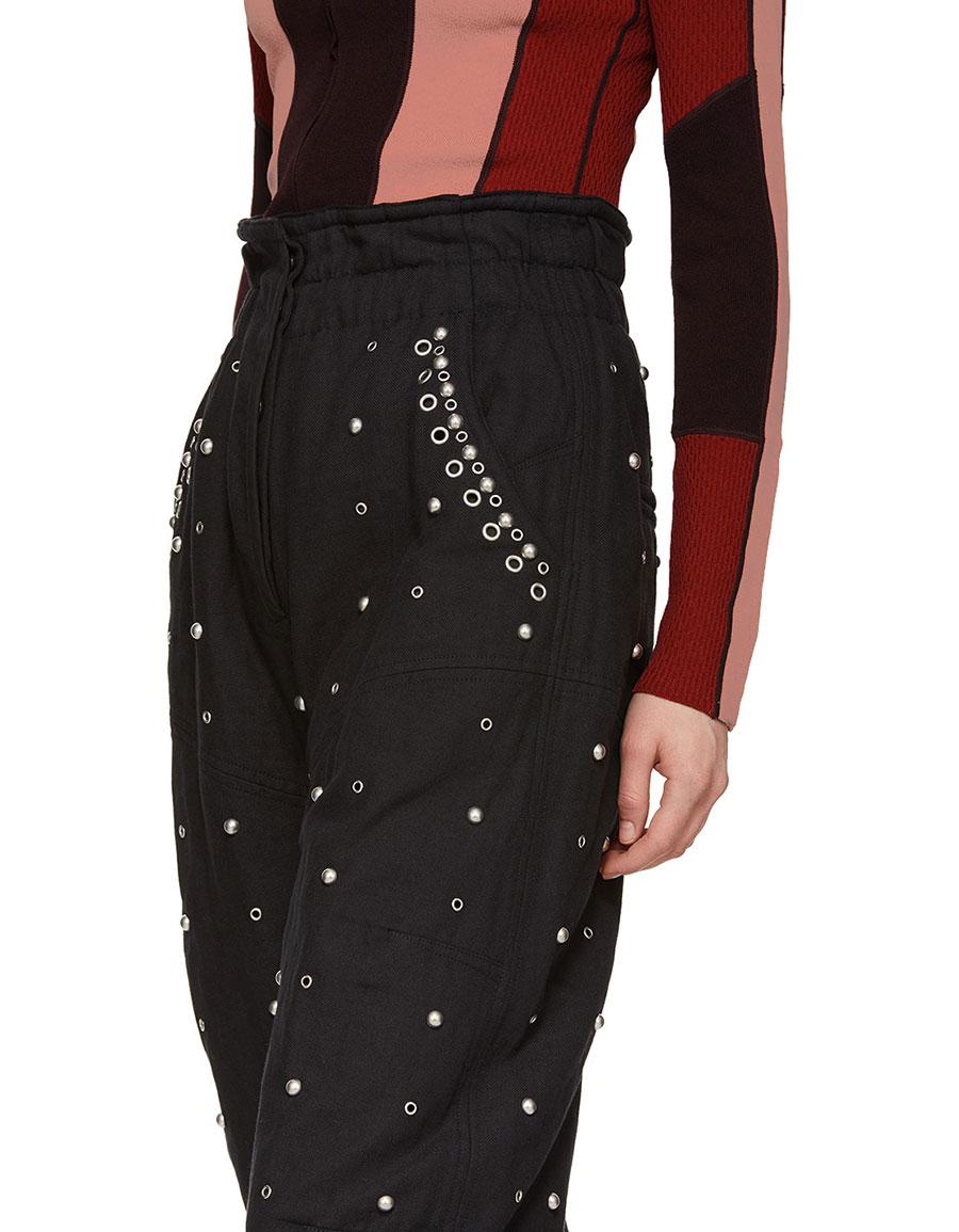 ISABEL MARANT Black Studded Eloma Trousers
