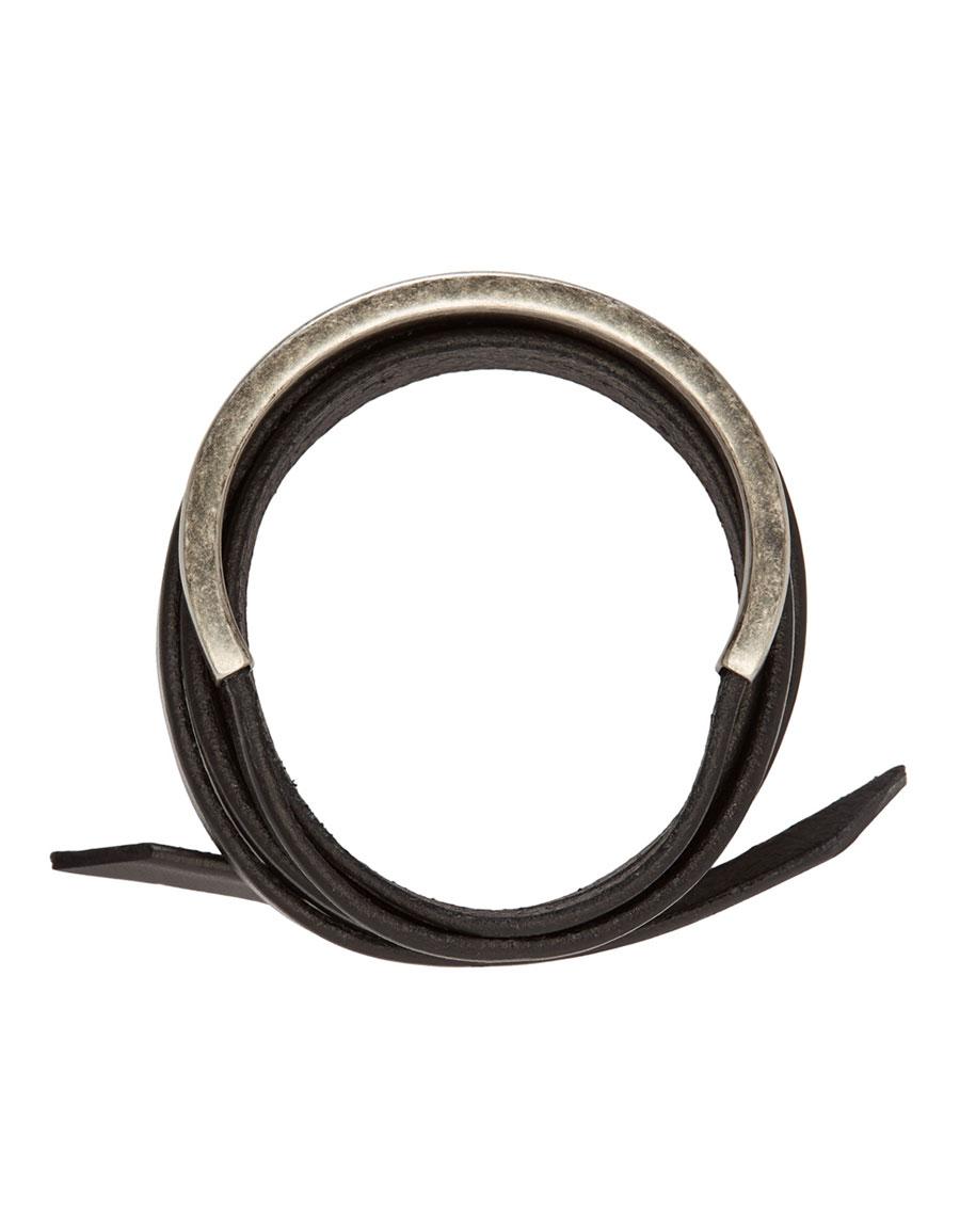 SAINT LAURENT Black Leather Wrap Bracelet