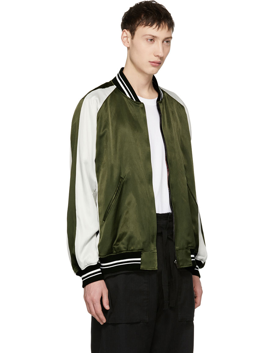 LAD MUSICIAN Reversible Black & Green Satin Flower Bomber Jacket