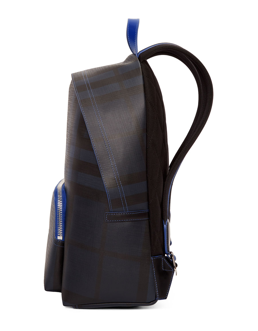 BURBERRY Navy & Blue London Check Backpack