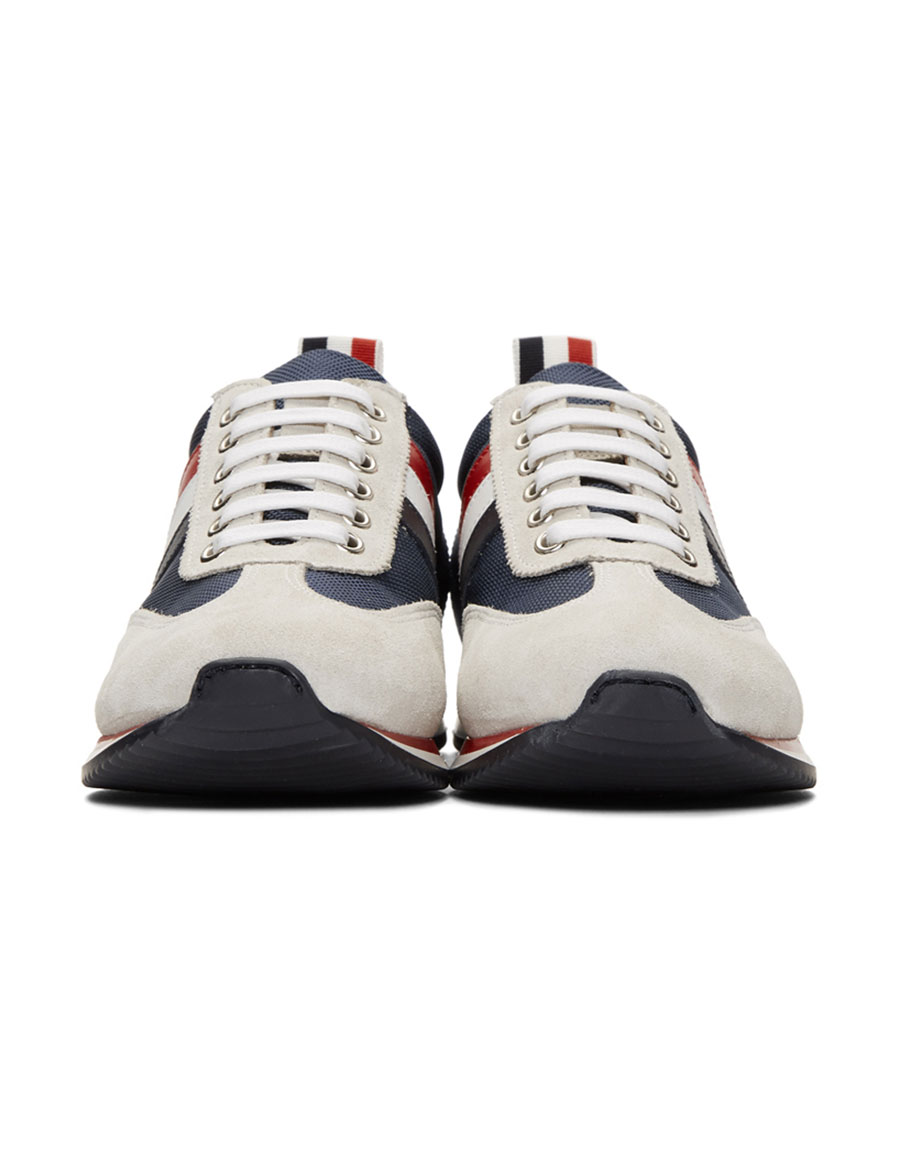 THOM BROWNE Navy Suede & Tech Tricolor Stripe Running Sneakers