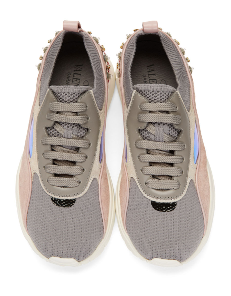 VALENTINO Grey Valentino Garavani Embroidered Heroes Sneakers