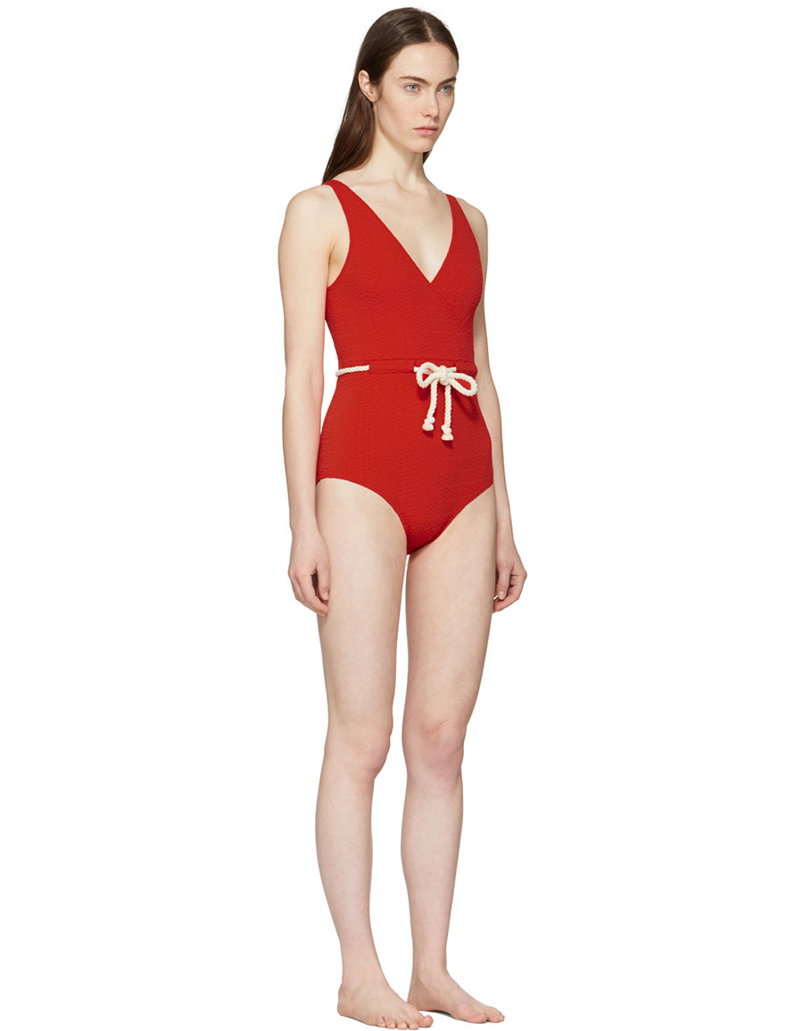 LISA MARIE FERNANDEZ Red Yasmin Seersucker Drawstring Swimsuit