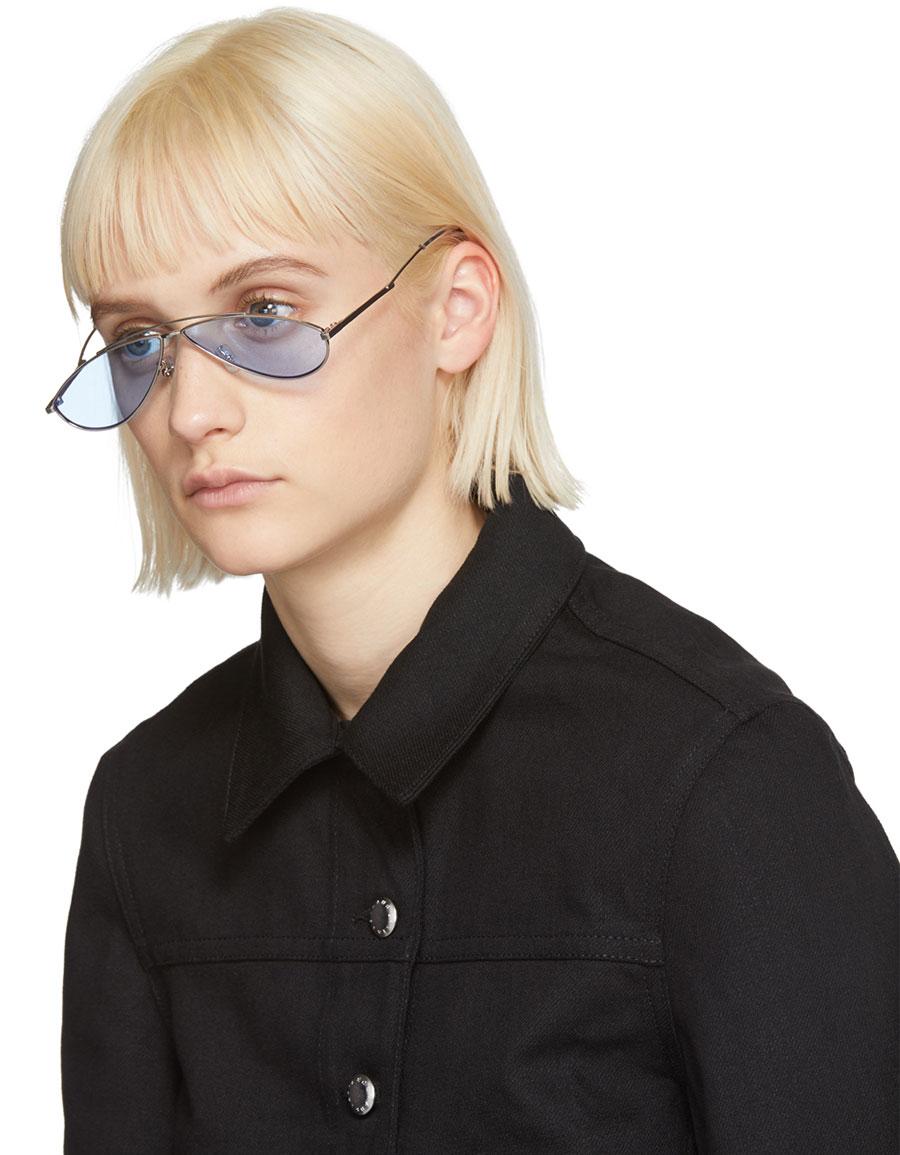 GENTLE MONSTER Silver & Blue Kujo Sunglasses