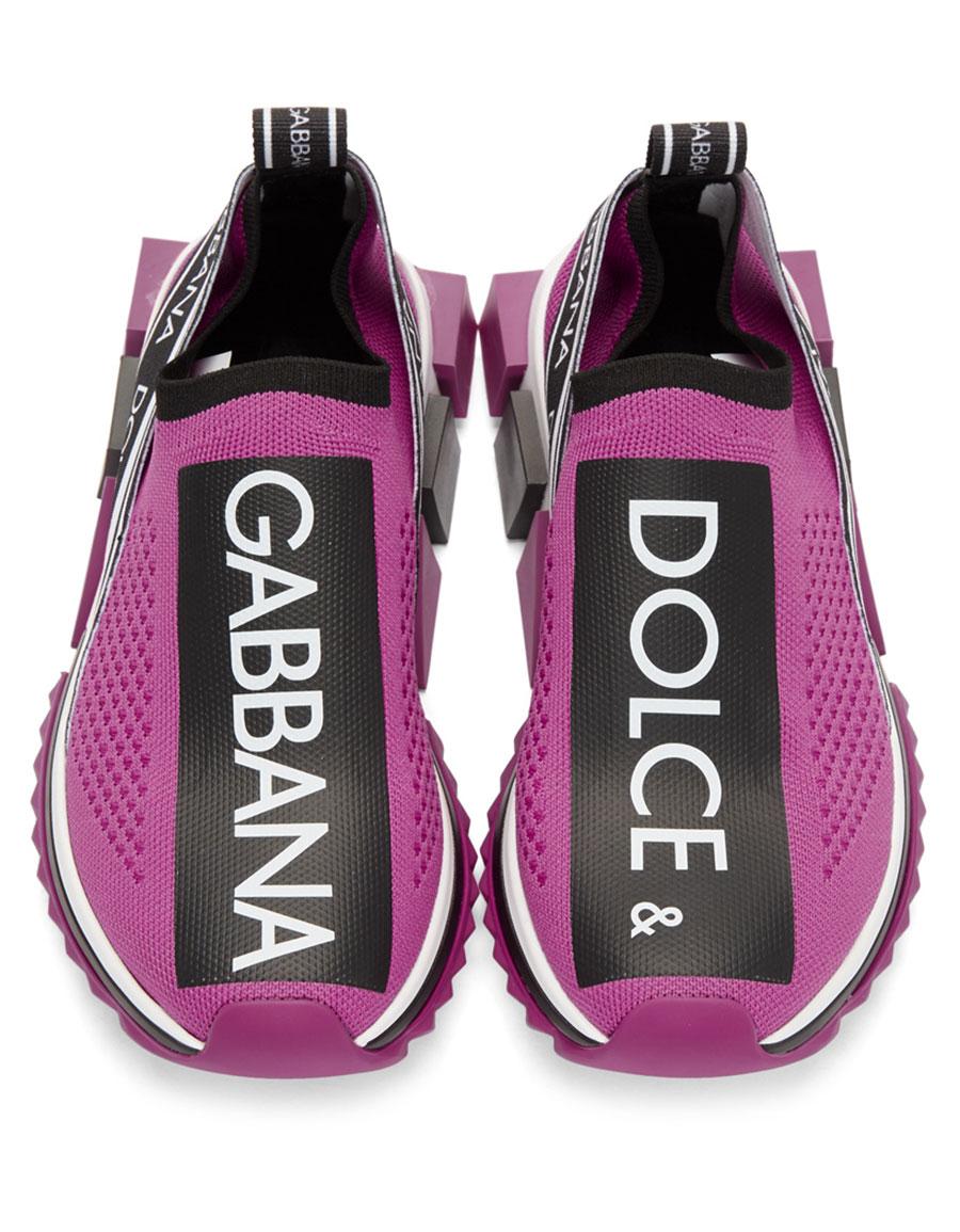 DOLCE & GABBANA Purple Knit Logo Sneakers