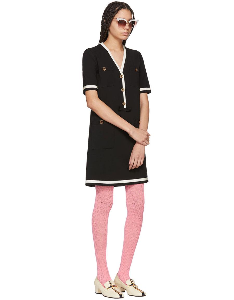 GUCCI Black Striped Piping Dress