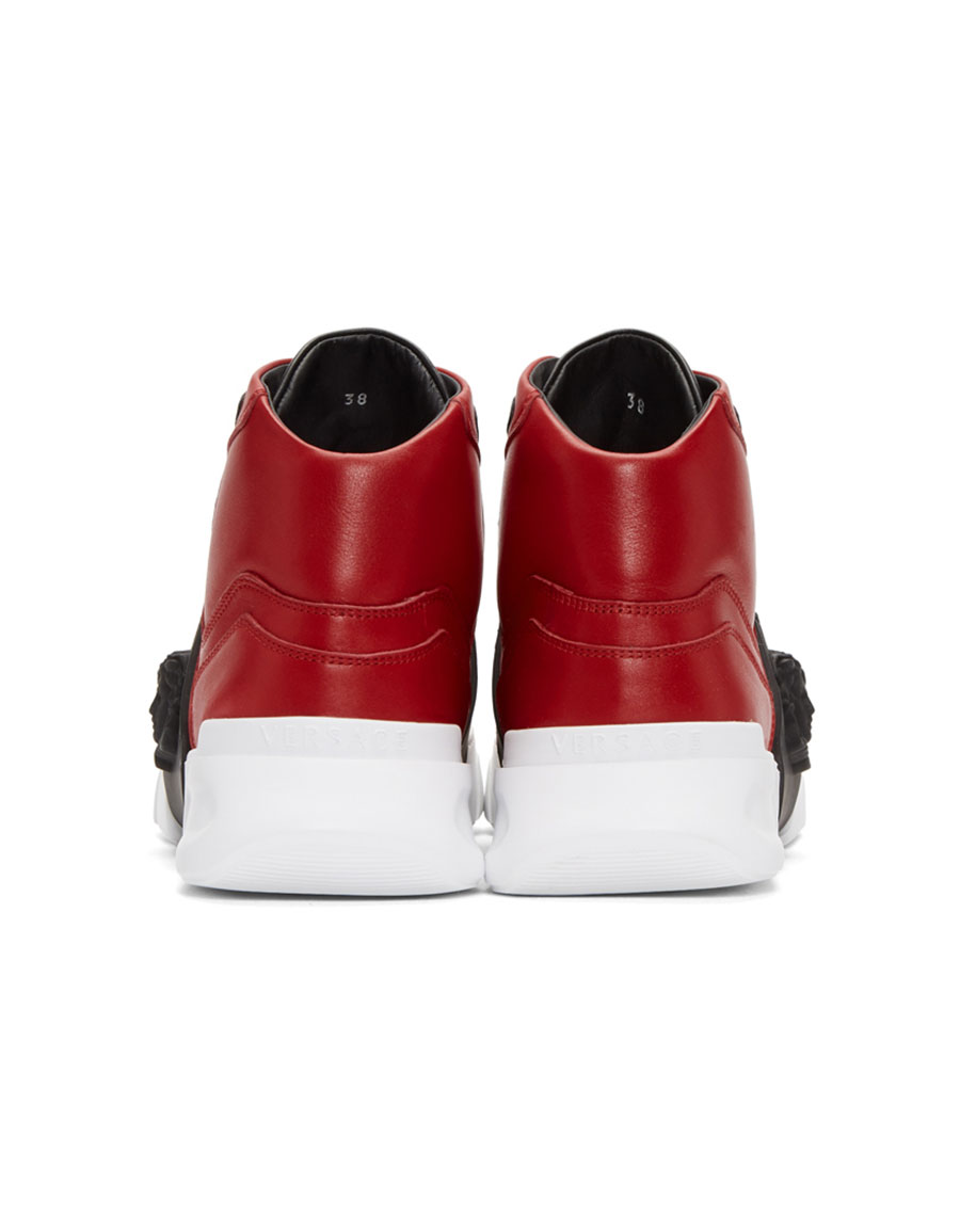 VERSACE Red Medusa High Top Sneakers