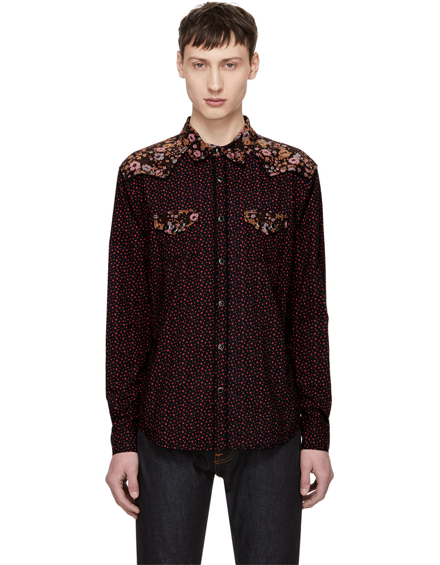 COACH 1941 Black Prairie Floral Patched Western Shirt