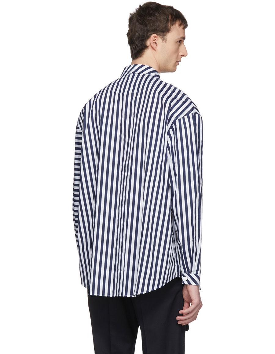 SUNNEI Navy & White Asymmetric Stripe Shirt