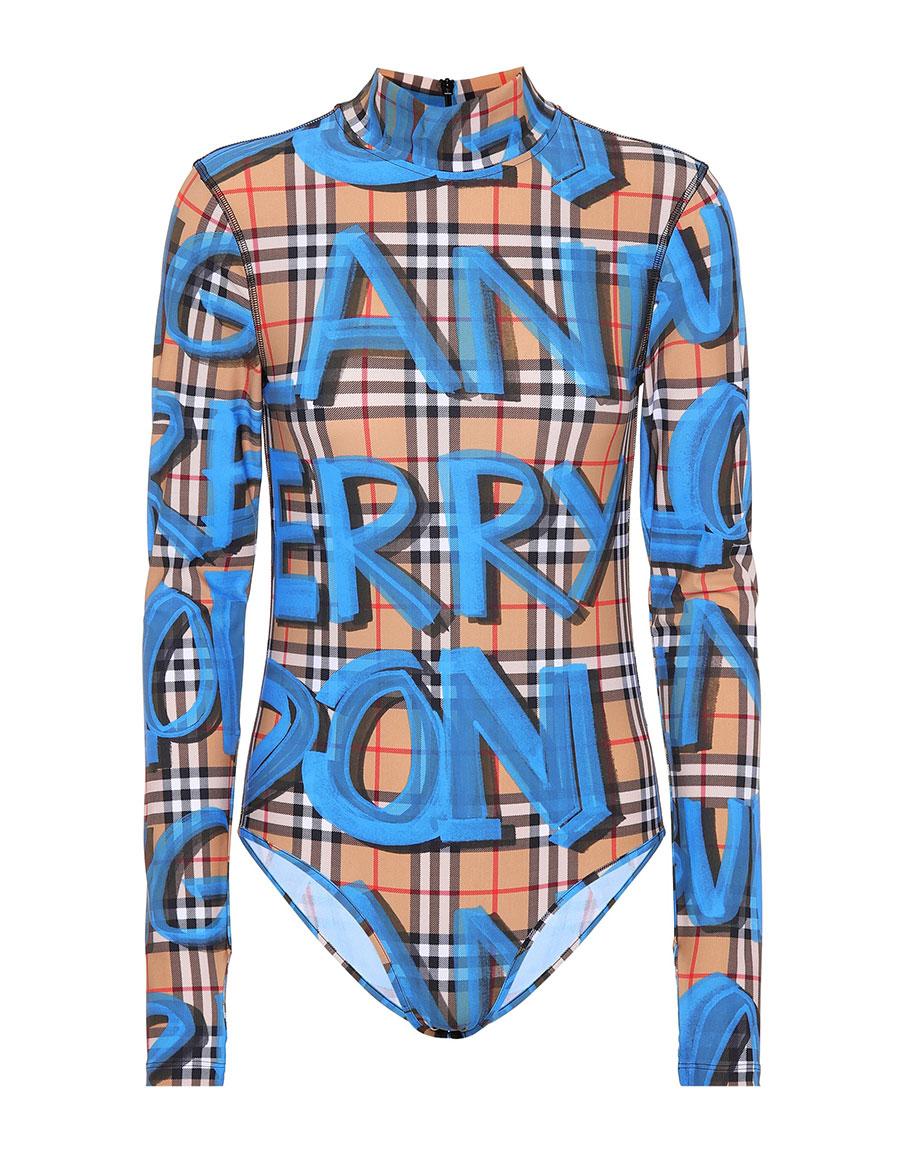 BURBERRY Graffiti Check jersey bodysuit