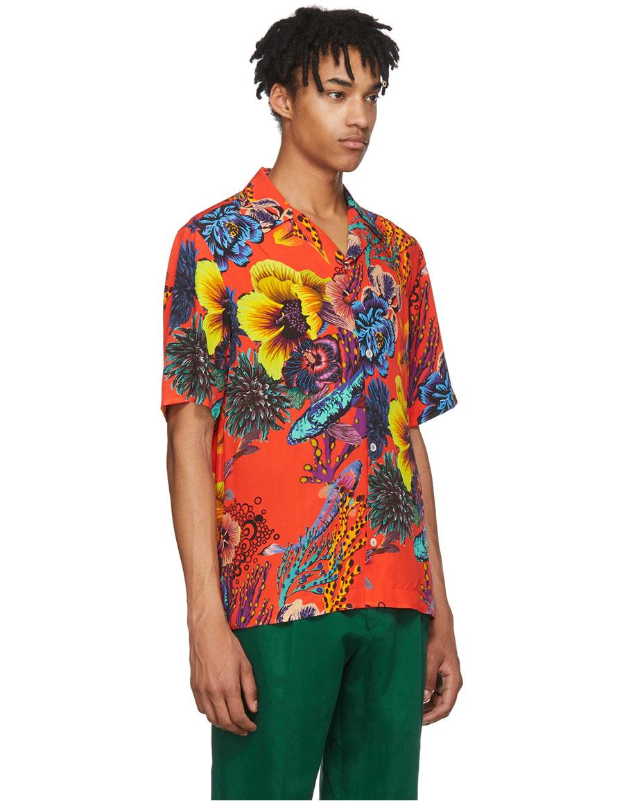 PAUL SMITH Red Hawaiian Print Shirt