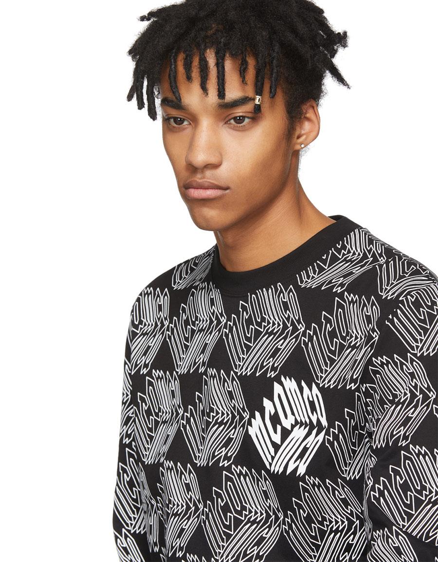 ALEXANDER MCQUEEN Black & White Long Sleeve All Over McQ Cube T Shirt