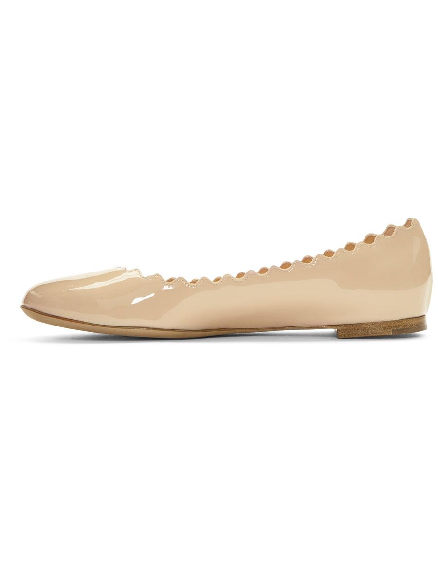 CHLOÉ Beige Patent Lauren Ballerina Flats