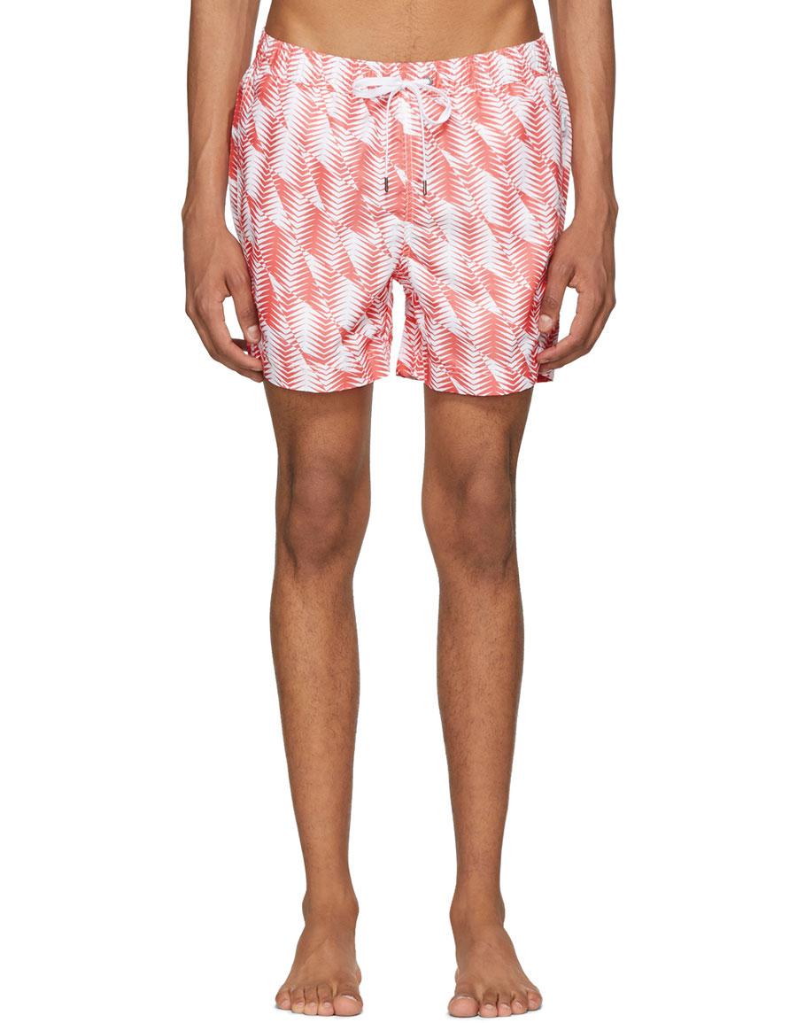 ONIA Orange & White Charles Swim Shorts