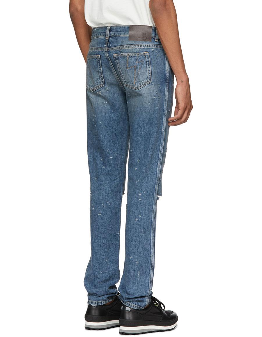 GIVENCHY Blue Destroyed Lightning Jeans