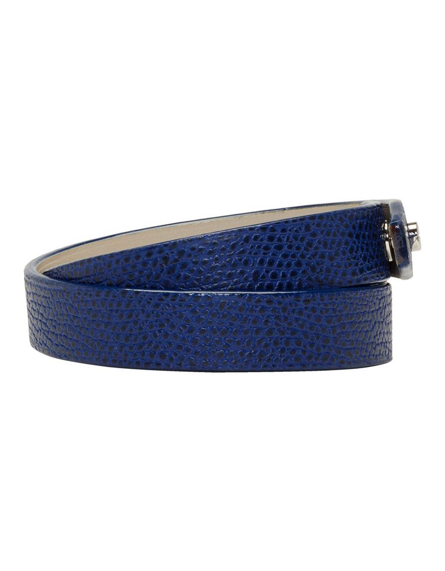 VALEXTRA Blue Leather Double Bracelet