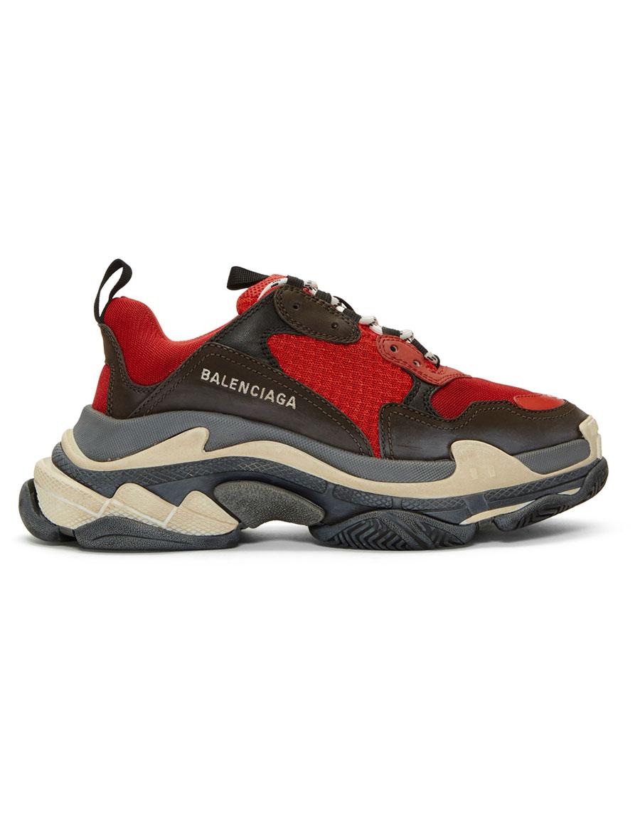 BALENCIAGA Red & Black Triple S Sneakers