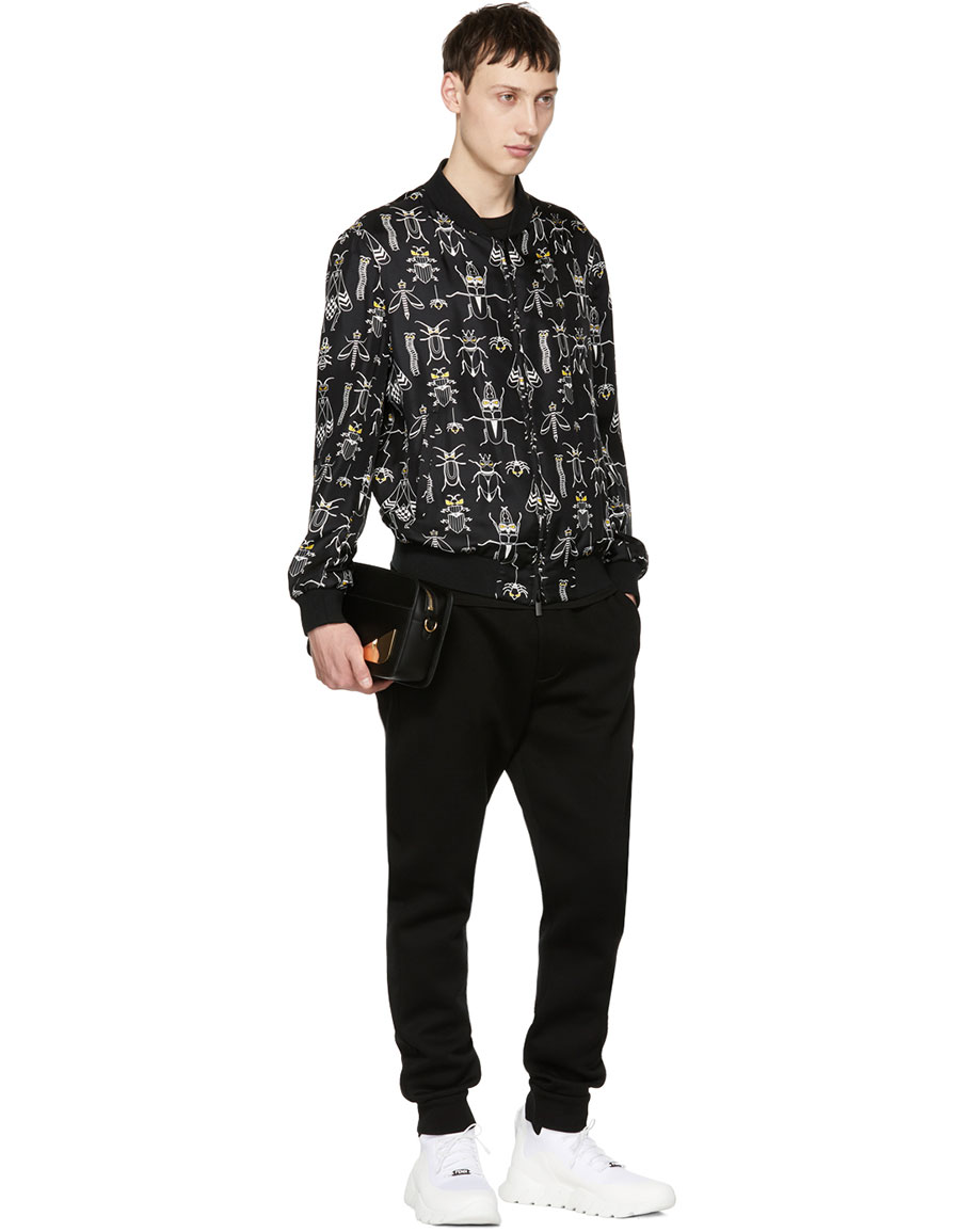 FENDI Reversible Black Silk 'Super Bugs' Bomber Jacket
