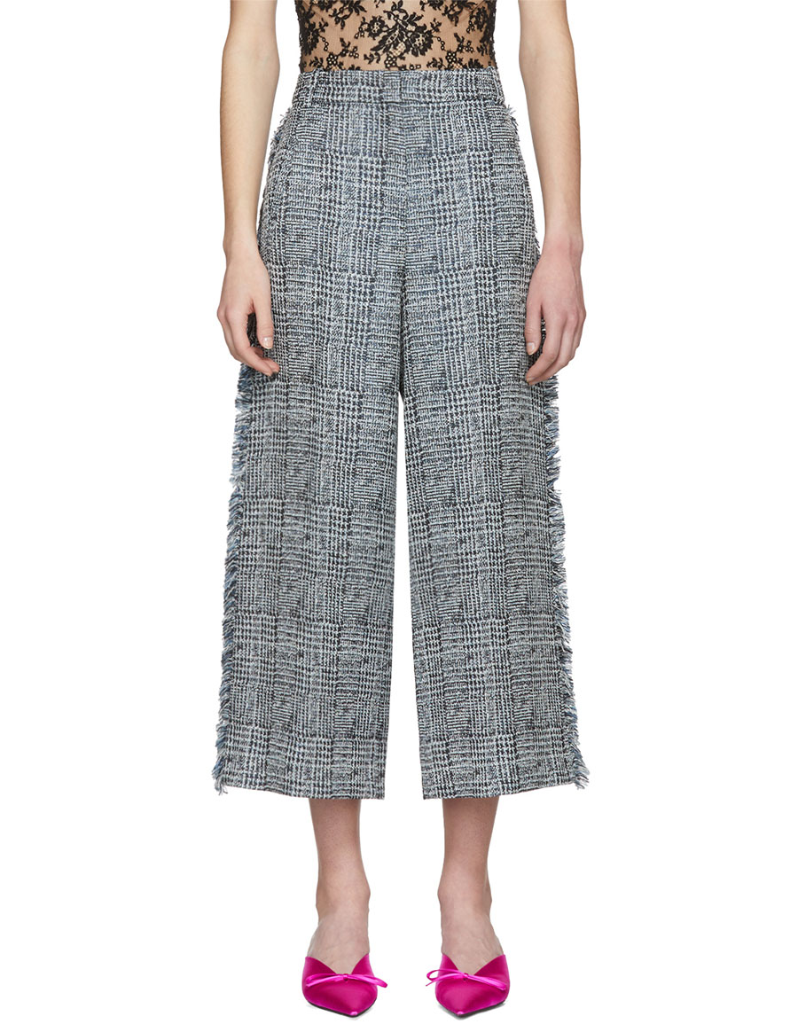 ERDEM Blue & White Cropped Beth Trousers