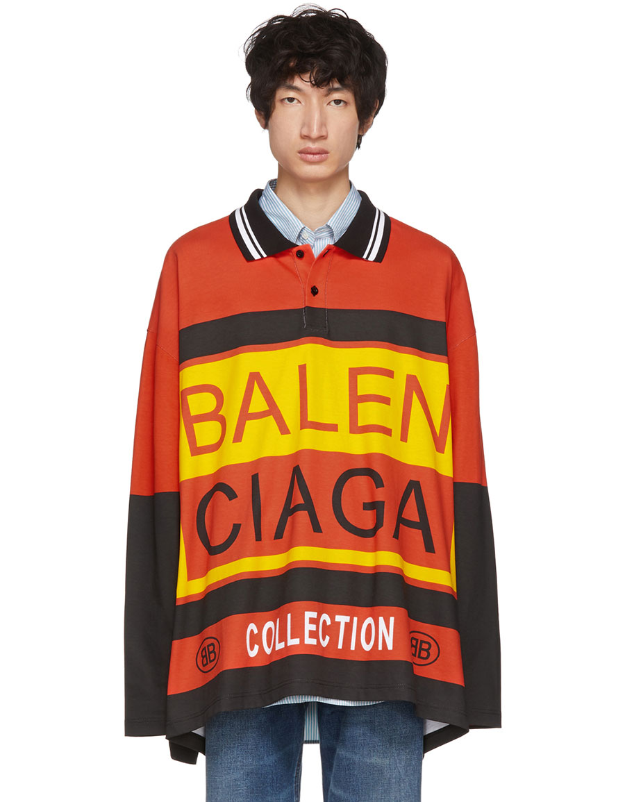 BALENCIAGA Multicolor Logo Oversized Polo
